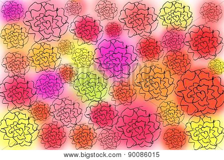 bright floral background of roses