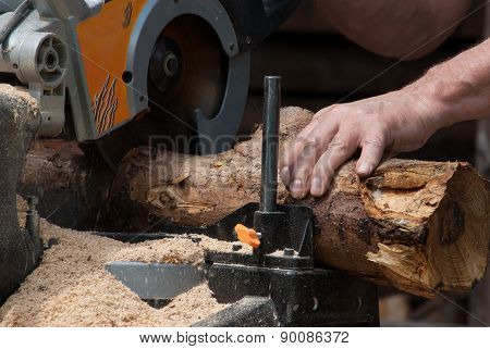 Circular saw cutting wood