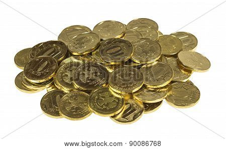 Placer Coins On A White Background.