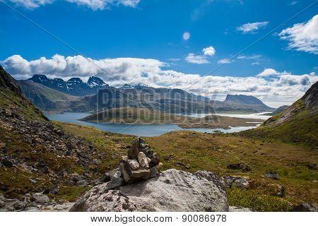 Scenic fjord on Lofoten islands