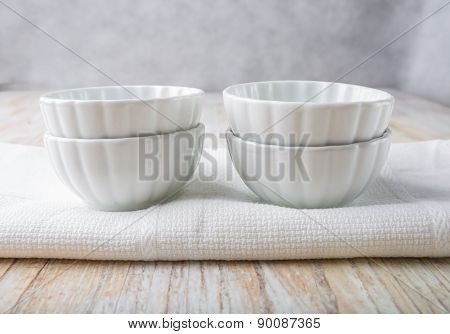 Empty White Bowl On The Kitchen Table