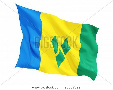 Waving Flag Of Saint Vincent And The Grenadines