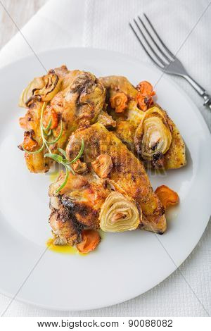 Oven-baked Chicken Wings With Vegetables