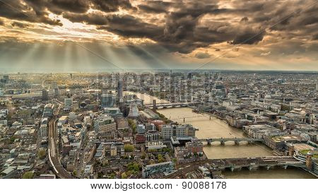 View Across The Skyline Of London With Moody Skies