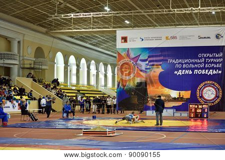ST. PETERSBURG, RUSSIA - MAY 6, 2015: International freestyle wrestling tournament Victory Day in Mikhailovsky manege.This traditional competitions dedicated to the Victory in Great Patriotic War
