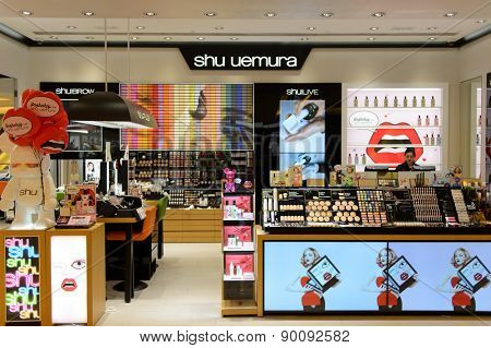 HONG KONG - MAY 05, 2015: Shu Uemura cosmetics boutique interior. Shu Uemura was a Japanese make-up artist and founder of the Shu Uemura international cosmetics line which bears his name