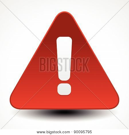 Red Warning, Attention, Caution Sign. Road Sign With Exclamation Point, Exclamation Mark.