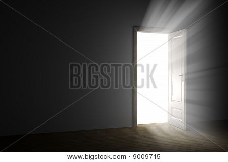 bright light through an open door in empty room