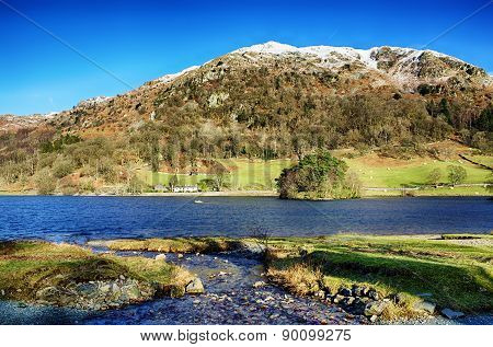 Nab Scar and Rydal Water on a sunny day.