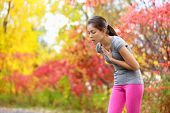 Running nausea - nauseous and sick ill runner vomiting. Running woman feeling bad about to throw up. Girl having nausea from dehydration or chest pain. poster