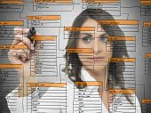 Businesswoman works on the database software development poster