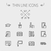 Education thin line icon set for web and mobile. Set includes- graduation cap, notepad with pen, certificate, bell, book, music book,teacher, blackboard, school supplies icons. Modern minimalistic poster