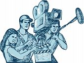Drawing style illustration of a film crew cameraman soundman with clapperboard microphone video film camera filming set on isolated white background. poster