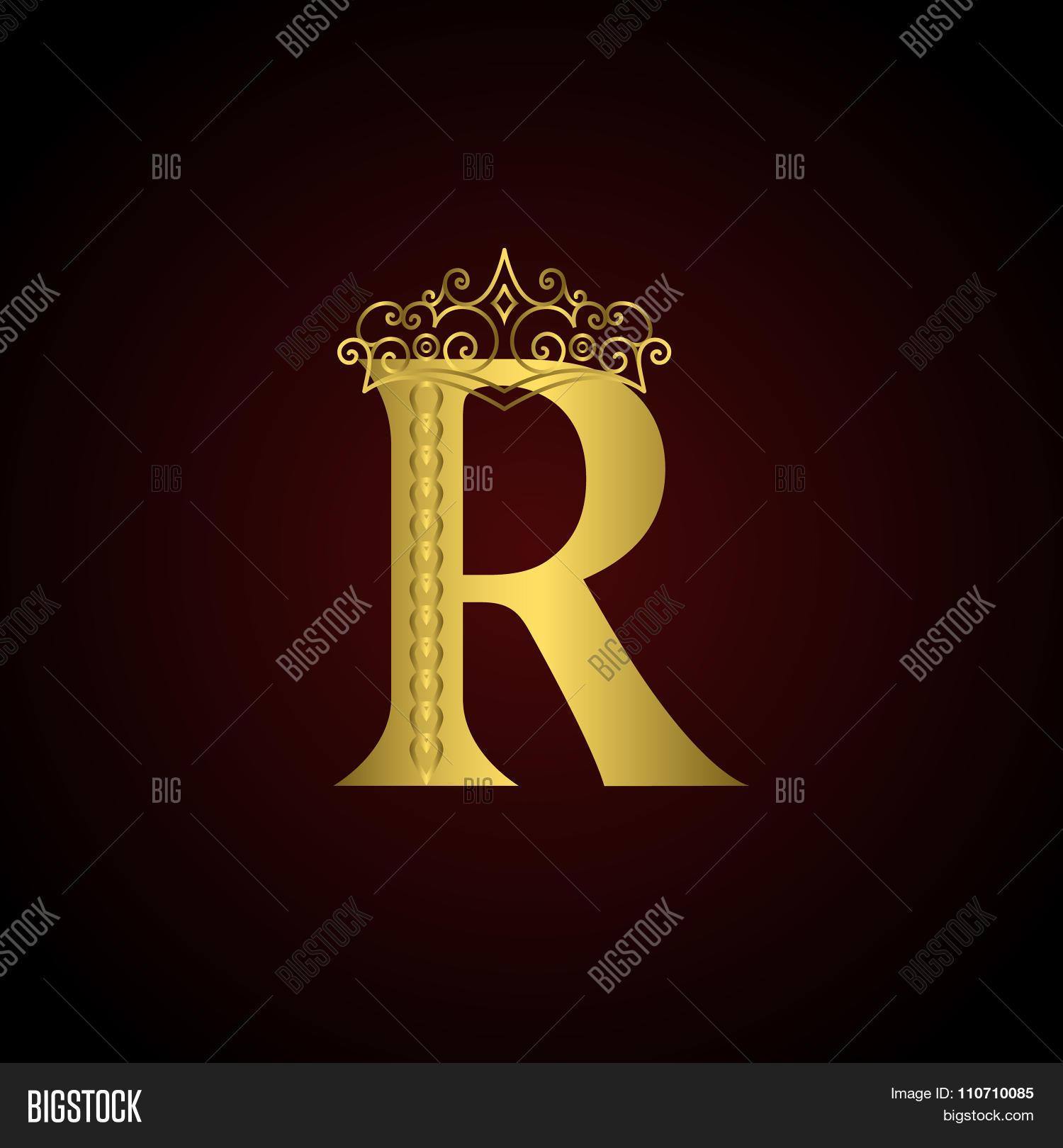 gold emblem letter r crown vector photo bigstock. Black Bedroom Furniture Sets. Home Design Ideas