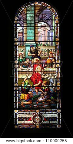 Stained Glass Window The Soldiers Mock Jesus