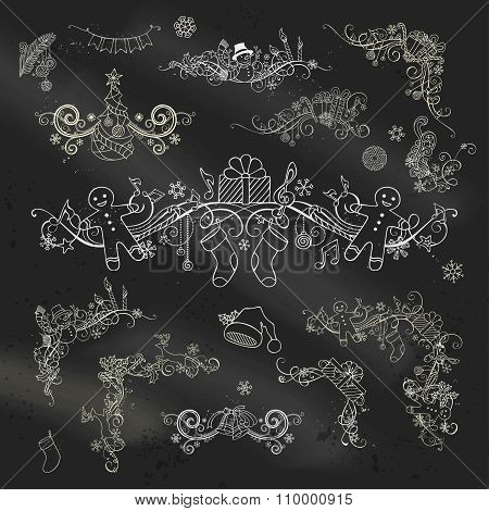 Chalk Christmas Page Dividers And Decorations On Blackboard Background.