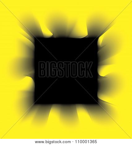 Black smoke square on a yellow background