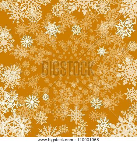 Christmas Background With Snowflakes Cut Out Of Paper On Orange Background Of Christmas Symbols
