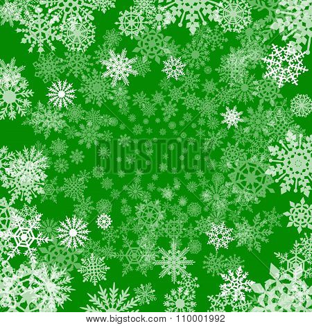 Christmas Background Of Snowflakes, In Green Colors