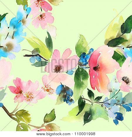 Seamless Pattern With Flowers Watercolor. Gentle Colors. Female Pattern. Handmade.