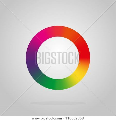Round Logo Colors Of The Rainbow On A Black Background