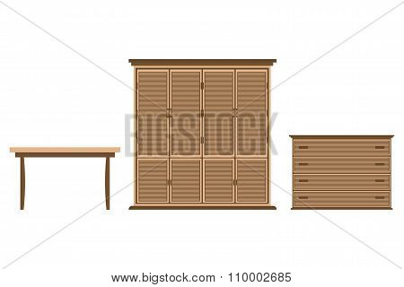 Furniture Design Set Dresser Cabinet Table On A  White Background