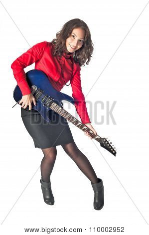 Funny businesswoman with electronic guitar