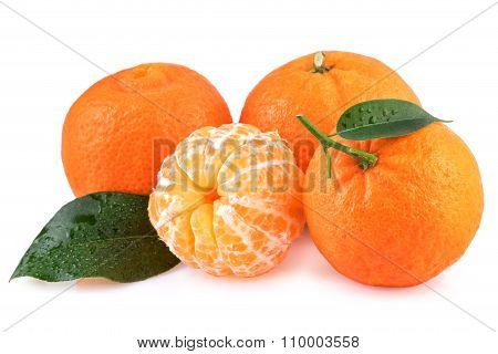 Tangerines Fruits Isolated on White