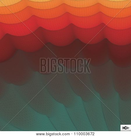 Wavy Grid Background. Mosaic. 3d Abstract Vector Illustration.