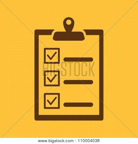 The checklist icon. Clipboard symbol. Flat