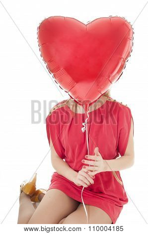 Woman Isolated On White With Heart