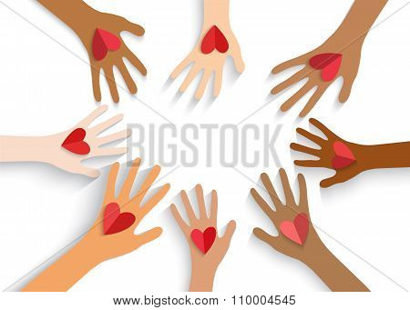 Collection Of Multicolored Hands Holding Red Heart. Vector Eps10.