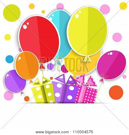 Greeting Card With A Gift Boxes And Balloons.  Vector Eps10.