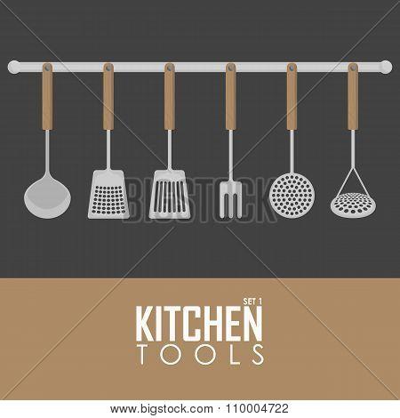 Kitchen tools vector set