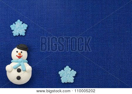 Christmas Figurines Sweet Mastic On A Blue Background