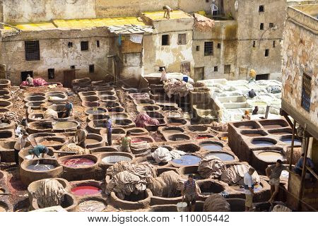 People working in Leather Tanneries , Morocco