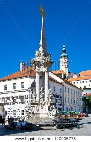 Castle And Main Square, Town Mikulov, South Moravia, Czech Republic