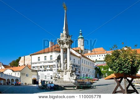 Castle And Main Square, Town Mikulov, South Moravia, Czech Republic