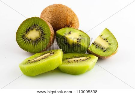 Kiwi Fruit Isolated On White Background, Macro