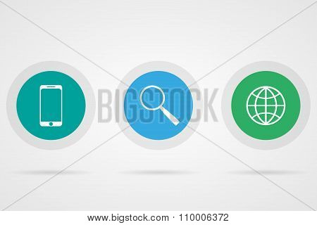 Web Icons Phone Globe Magnifier With Shadow