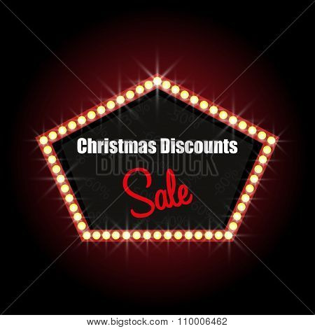 Christmas Discounts Illuminated Sign With Text Stylish