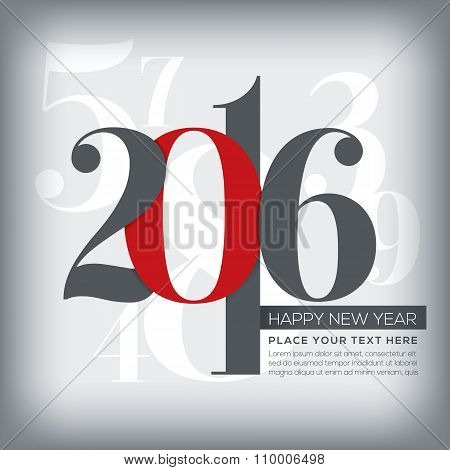 2016 Happy New Year Greeting With Numbers Background