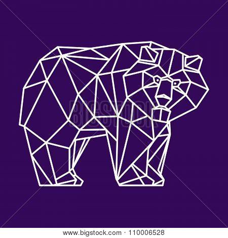 Bear Vector Character Logo. Line Art Style.