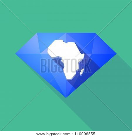 Long Shadow Diamond Icon With  A Map Of The African Continent