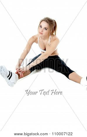 Athletic Woman Doing Stretching Exercises, Isolated On White Background.healthy Lifestyle Concept.
