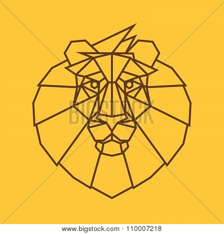 Lion Head Vector Logo. Line Art Style.