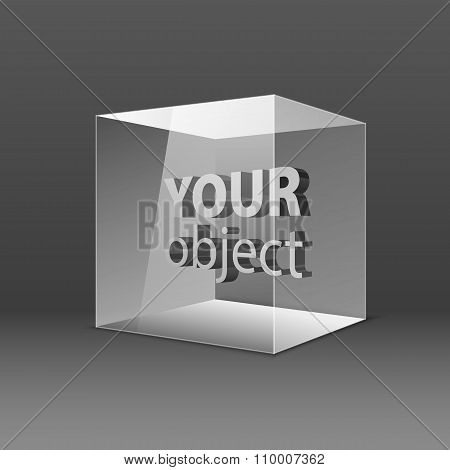 Abstract Transparent Box On Grey Background. Eps 10.  Your Object