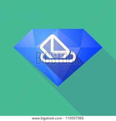 Long Shadow Diamond Icon With  A Ballot Box