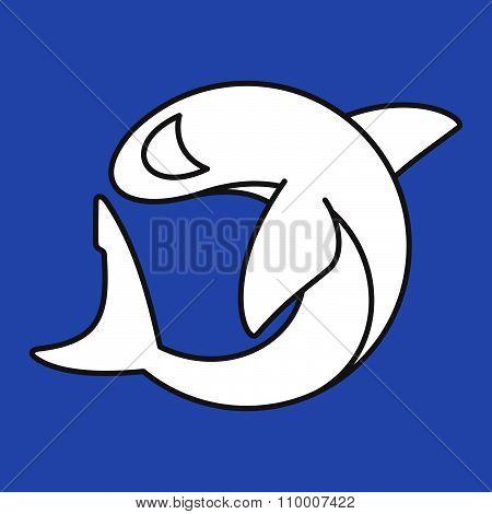 Shark Character Logo. Line Art Style.