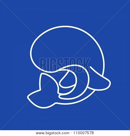 Whale Logo. Line Art Style.